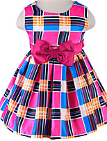 New 2016 Girl Princess Blue/HotPink Plaid Dress Fashion Girls Casual Dresses with Bowknot Belt for 6 M ~4 Y Baby Girls