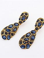 Fashion Blue Crystal Exaggerated Large Drop Earrings