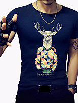 Men's Fashion Cartoon Deer Print Round Collar Slim Fit Short-Sleeve T-Shirt;Casual/Cotton/Print/Plus Size