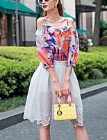 PRASE   Women's Print White T-shirt,Strap ½ Length Sleeve
