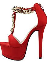 Women's Sandals Summer Sandals Fleece Casual Stiletto Heel Chain Pink / Red / Gray / Fuchsia Others