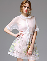 AFOLD® Women's Shirt Collar Short Sleeve Knee-length Dress-5682