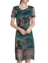 Women's Casual/Daily/Vintage/Chinoiserie/Plus Size Chiffon Dresses Round Neck Short Sleeve Knee-length Printing Dress