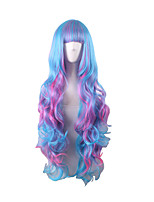 Wave Water Blue Pink Mixed Lolita Wig Synthetic Anime Cosplay Party Women Hair Heat Resistance Wig