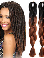 1 Pack Black Ombre Dark Brown Crochet 24inch Yaki Kanekalon Fiber 100g 2 Tone Jumbo Braids Synthetic Hair Extensions