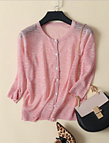 Women's Casual/Daily Street chic Cardigan,Solid Pink / Beige / Gray Long Sleeve Linen Thin
