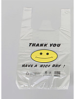32x50cm Transparent smiling face vest supermarket shopping plastic bag