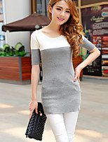 Women's Casual/Daily Street chic Dress,Striped Gray Round Neck Short Sleeve Cotton / Polyester Spring Thin
