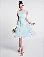 Lanting Bride Knee-length Chiffon Bridesmaid Dress A-line Scoop with Draping / Ruching