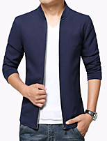 Men's Fashion European Style Solid Stand Collar Casual Slim Fit Jacket, Plus Size/Zipper/Solid