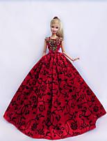Poupée Barbie-Rouge / Noir-Princesse-Robes- enSatin / Dentelle