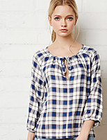 Women's Casual/Daily Simple Summer / Fall Blouse,Plaid Round Neck ¾ Sleeve Blue Polyester Opaque