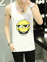 Men's Print Casual / Sport Tank Tops,Cotton / Spandex Sleeveless-Black / White