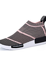 Women's Shoes Fabric / Tulle Spring / Fall Round Toe Flats Casual Flat Heel Others / Lace-up Black / Pink
