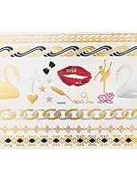 1pc Flash Metallic Waterproof Tattoo Gold Silver Lip Swan Ballet Temporary Tattoo Sticker YH-010