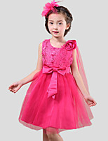 Girl's Casual/Daily Solid Dress,Cotton / Polyester All Seasons Pink / Purple