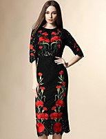 Boutique S  Women's Going out Street chic Lace Dress,Embroidered Round Neck Midi ½ Length Sleeve Black Polyester Summer