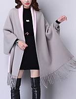 Women's Going out / Casual/Daily Simple Long Cloak / Capes,Solid Blue / Red /Sleeve Wool Fall / Winter Thick