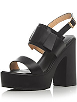 Women's Shoes Leather Chunky Heel Heels / Platform / Open Toe Sandals Dress / Casual Black / White