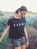 Damen Druck Einfach Lässig/Alltäglich T-shirt,Bateau Sommer Kurzarm Schwarz Baumwolle Dünn