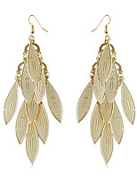 Exaggeration Personality Golden Willow Leaf Shape Sequined Tassels Earrings