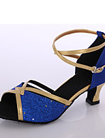 Women's Latin Paillette Heels Indoor Customized Heel Blue Customizable