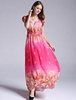 Women's Holiday / Plus Size Boho Chiffon Dress,Print Deep V Maxi Sleeveless Red Polyester Summer
