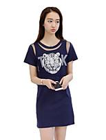 Women's Casual/Daily Street chic Summer T-shirt,Print Round Neck Short Sleeve Blue / White / Black Cotton / Spandex Thin