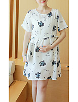 Maternity Casual/Daily Simple Loose Dress,Floral Round Neck Above Knee Short Sleeve White Rayon / Polyester Summer