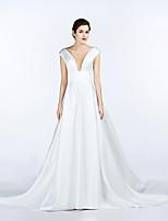 A-line Wedding Dress Chapel Train V-neck Satin with Pocket