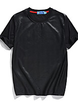 Men's Patchwork Casual / Sport T-Shirt,Polyester Short Sleeve-Black