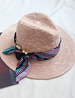 Women Casual Ribbon Straw Middle Brimmed Foldable Sun Hats
