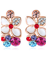 Earring Flower Stud Earrings Jewelry Women Fashion Wedding / Party / Daily / Casual Alloy / Cubic Zirconia / Rhinestone / Rose Gold Plated