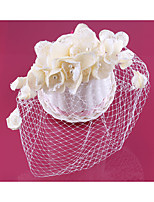 Dame Blonde / Perle / Nett Headpiece-Bryllup Fuglebur Slør 1 Deler Champagne Rund 18cm
