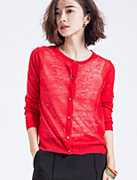 Women's Going out Simple Cardigan,Solid Red / Black / Yellow Long Sleeve Cotton Summer Medium
