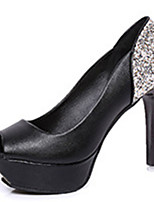 Women's Sandals Summer Peep Toe PU Casual Stiletto Heel Sparkling Glitter Black / Red / White Others