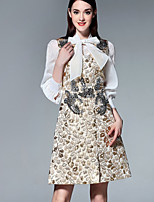 Boutique S Going out Sophisticated A Line Dress,Embroidered Round Neck Above Knee ¾ Sleeve Gold Polyester Summer