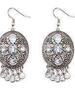 British Retro Antique Silver Earrings Diamond Tassel Earrings Exaggerated Earrings Court