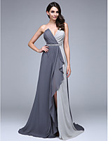 TS Couture® Formal Evening Dress A-line V-neck Court Train Chiffon with Beading / Crystal Detailing