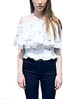 Women's Going out Sexy / Street chic Summer Blouse,Embroidered Boat Neck Short Sleeve White Polyester Thin