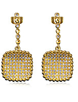 Square design Drop Earrings 18K Gold plated and Platinum plated & White Cubic Zircon Wedding Jewelery Drop Earring