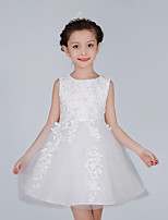 A-line Knee-length Flower Girl Dress - Cotton / Lace / Satin / Tulle Sleeveless Jewel with