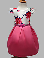 Girl's Casual/Daily Floral Dress,Polyester Summer / Spring Pink