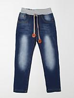 Pantalones Boy-Casual/Diario-Un Color-Algodón-Otoño-Azul