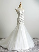 Fit & Flare Wedding Dress Sweep / Brush Train Scoop Lace / Tulle with Beading