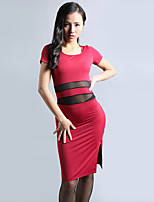 Belly Dance Dresses Women's Training Chinlon Pleated 1 Piece Belly Dance Short Sleeve Natural Dress