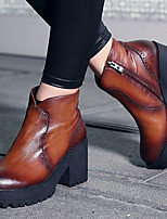 Boots Spring / Summer / Fall Fashion Boots Leather Casual Chunky Heel Others Black / Brown