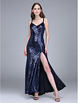 Lanting Bride® Ankle-length Sequined Bridesmaid Dress Sheath / Column Spaghetti Straps with Split Front