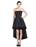 Formal Evening Dress A-line Strapless Asymmetrical Taffeta with Bow(s)