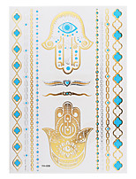 1PC Flash Metallic Waterproof Tattoo Gold Silver Evil Eye Hand Blue Temporary Tattoo Sticker YH-008